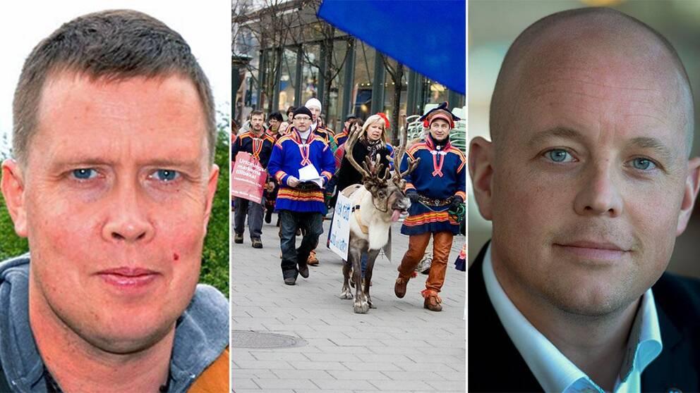 porträtt på två män, och bild på samer som går i demonstrationståg.