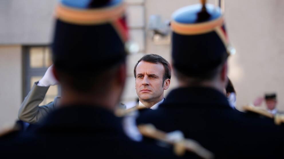 Frankrikes president Emmanuel Macron vid försvarshögskolan i Paris den 7 februari 2020.
