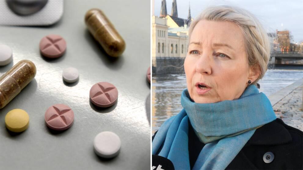 En närbild på olika läkemedel och en bild på Kia Salin.