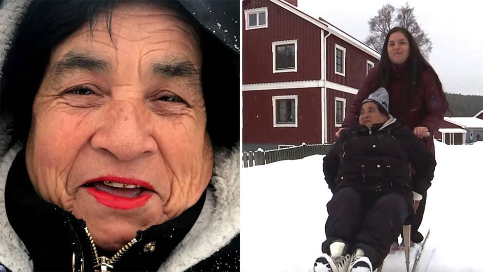Se när Rosa Altamirano från Chile som aldrig upplevt snö får prova att sparka