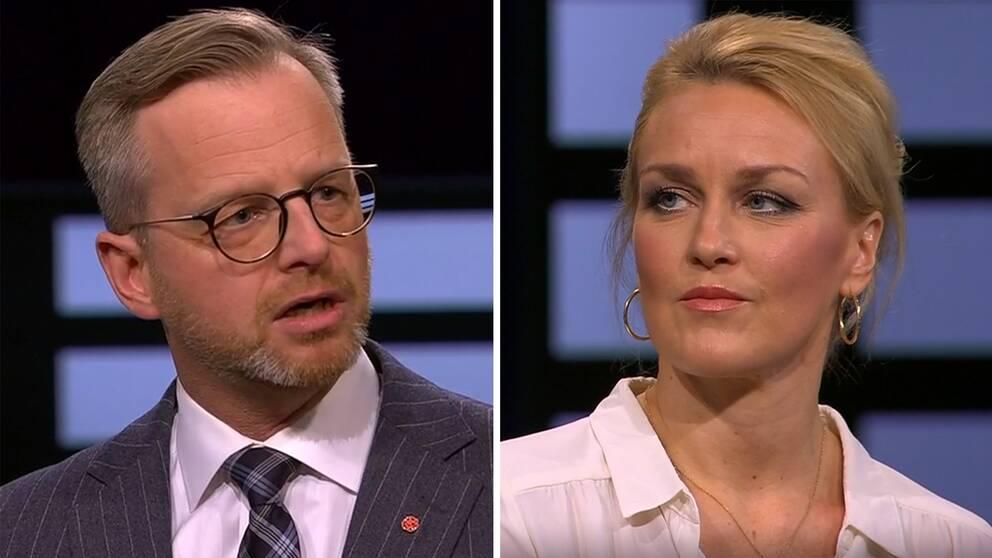 Inrikesminister Mikael Damberg (S) och Olga Persson, generalsekreterare Unizon, i debatt.