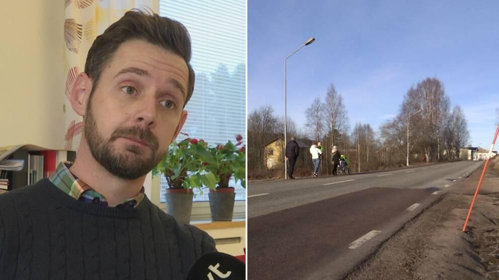 Torsbys kommunens gatuchef Henrik Johansson bredvid vägen.
