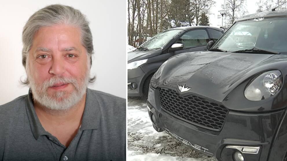 Hans Cassapierre till vänster, mopedbilar till höger, i bilden.