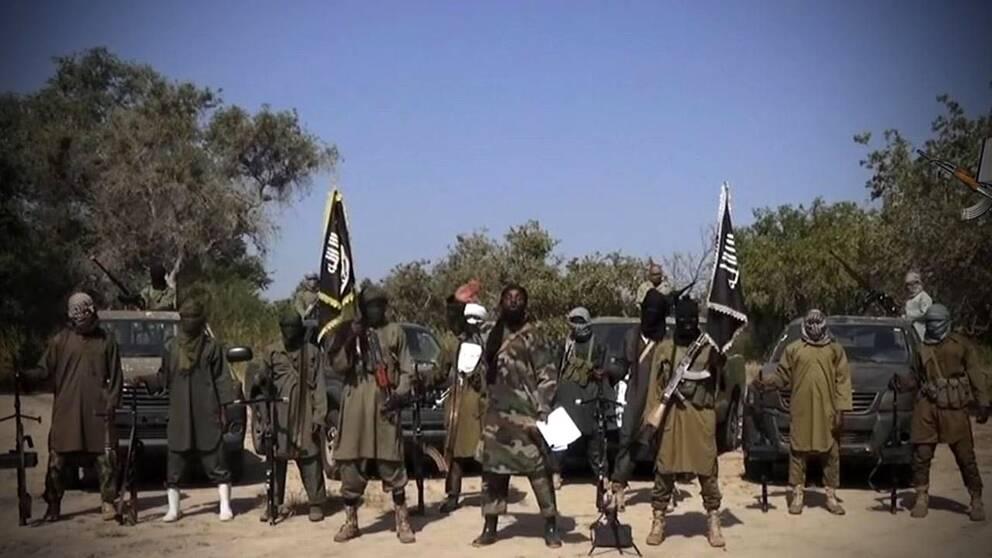 Den nigerianska terroristgruppen Boko Haram i video från oktober 2014.