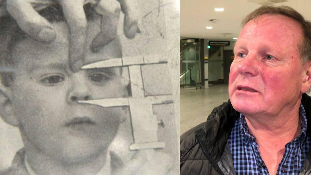 En delad bild med en bild av ett barn som utsätts för mätning med ett skjutmått samt en bild på Bengt Niska.