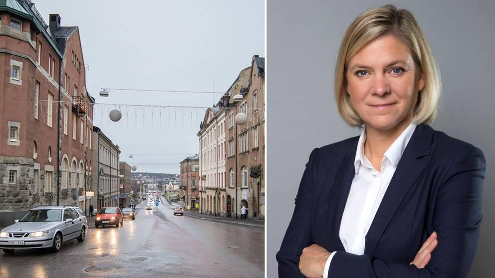 Delad bild med Härnösand till vänster och Magdalena Andersson (S) till höger.