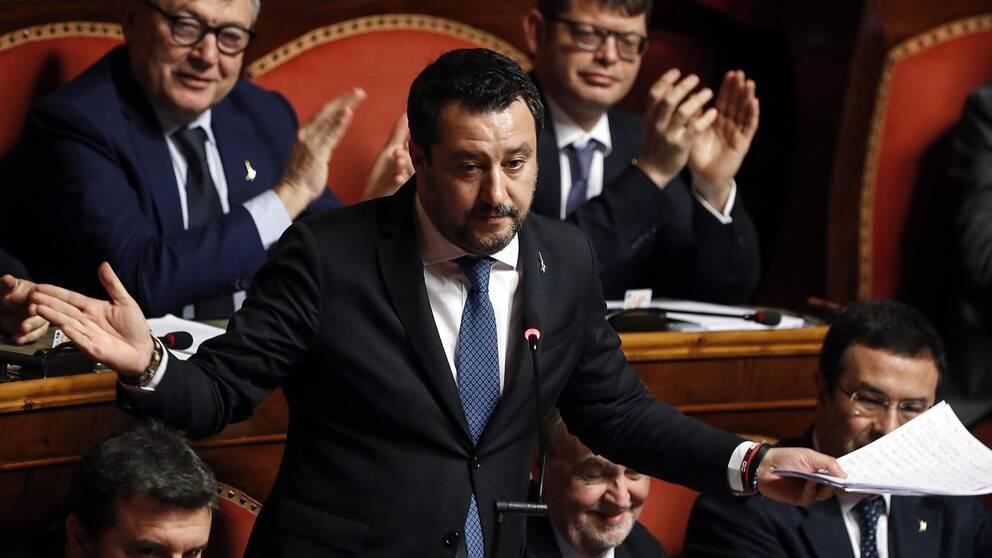 Politikern och ledaren för partiet Lega i Italien Matteo Salvini