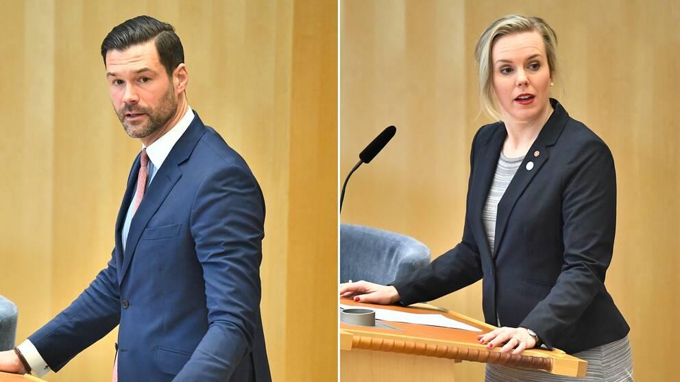 Johan Forsell (M), rättspolitisk talesperson för Moderaterna och Linda Westerlund Snecker (V), rättspolitisk talesperson för Vänsterpartiet.