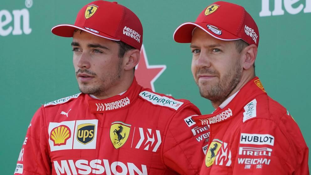 Sebastian Vettel och Charles Leclerc är i år lagkamrater på lika villkor.