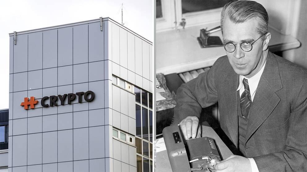 Bild på Crypto AG:s huvudkvarter i Schweiz samt bild på ingenjören Boris Hagelin.