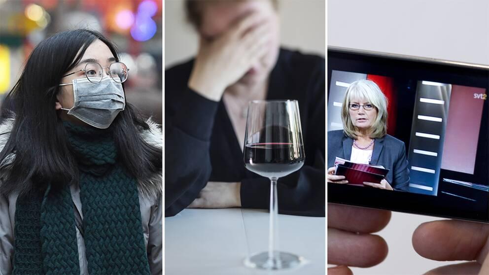 En kvinna med munskydd, en kvinna med ett glas vin och en bild från en Aktuellt-sändning.