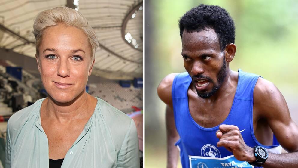 SVT:s expert Kajsa Bergqvist och terränglöparen Robel Fsiha.