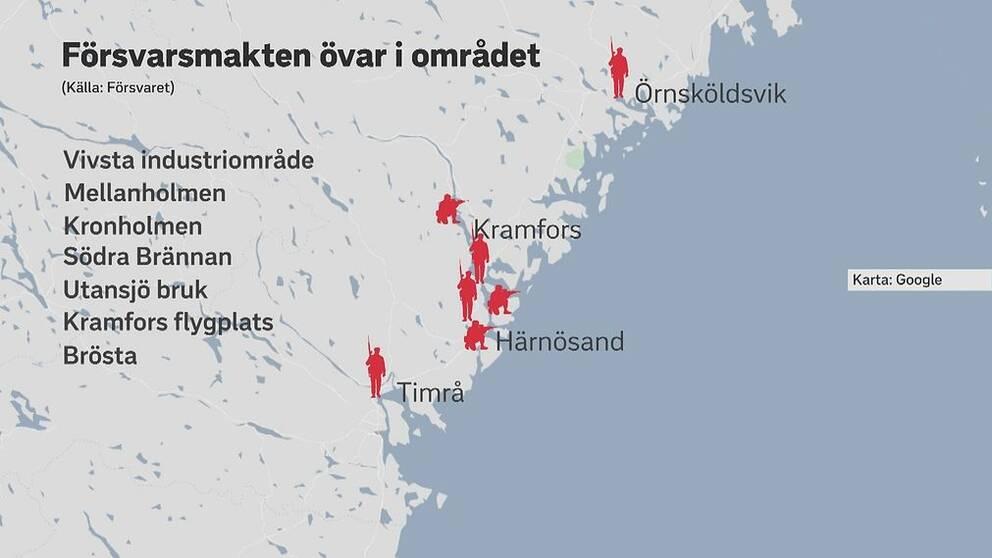 Försvarsmakten övar på olika platser i Timrå, Härnösand, Kramfors och Sollefteå.