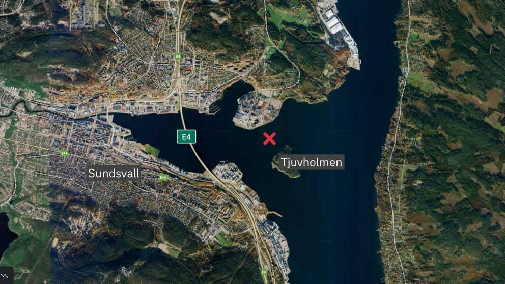 Karta över Sundsvallsfjärden.