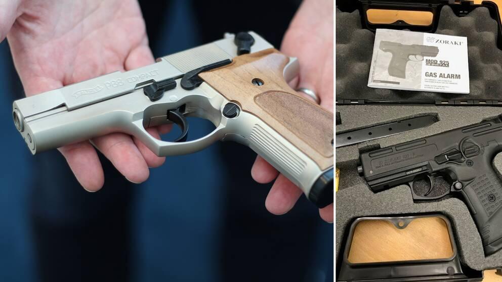 Start- och gaspistolerna som Tullverket fångar upp ligger oftast i sina originalförpackningar. Båda pistolerna på bilderna beslagtogs förra året.