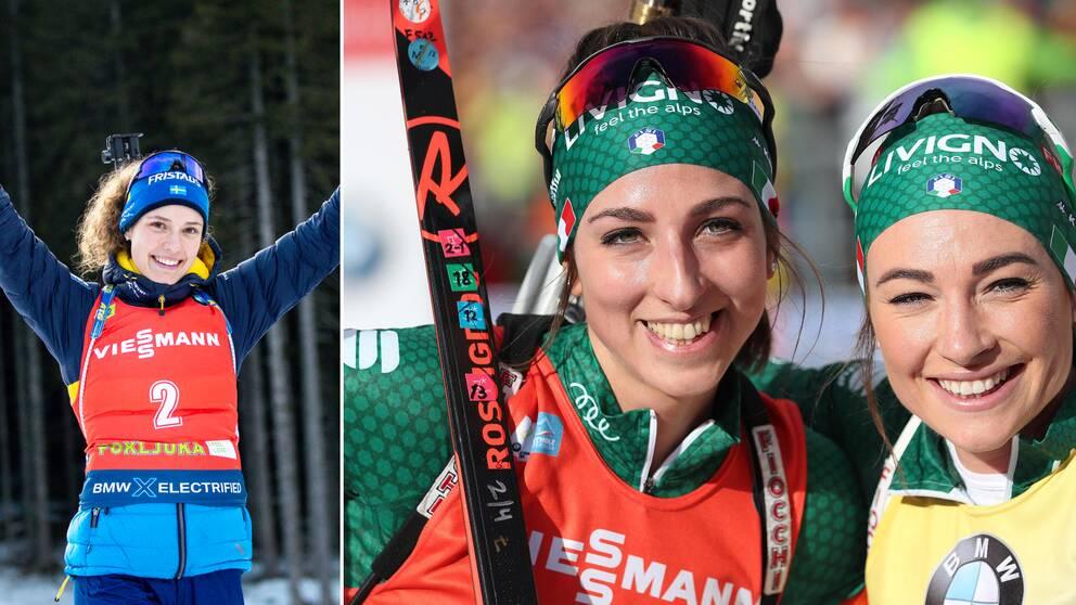 Hanna Öberg hyllas av sina italienska konkurrenter Dorothea Wierer och Lisa Vittozzi.
