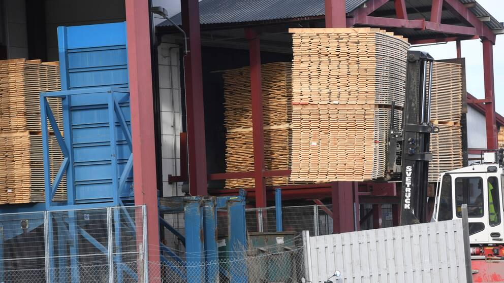 Stora mängder träplankor höjs upp av lastare.