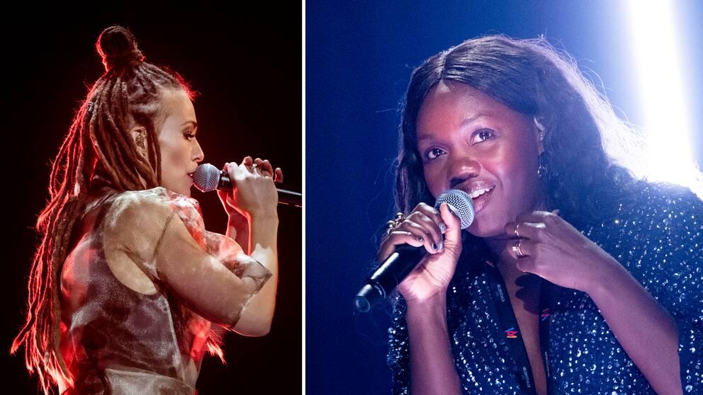 Faith Kakembo (t.h) väntas kunna hota förhandsfavoriter som Mariette (t.v) under Melodifestivalens deltävling i Luleå på lördag.