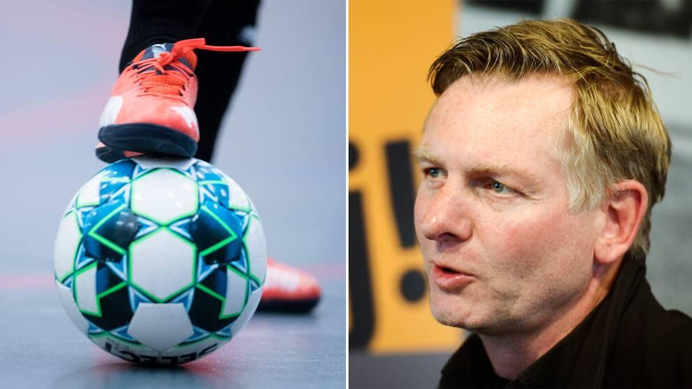 En futsalboll och Polisens kriminalkommissarie Fredrik Gårdare.