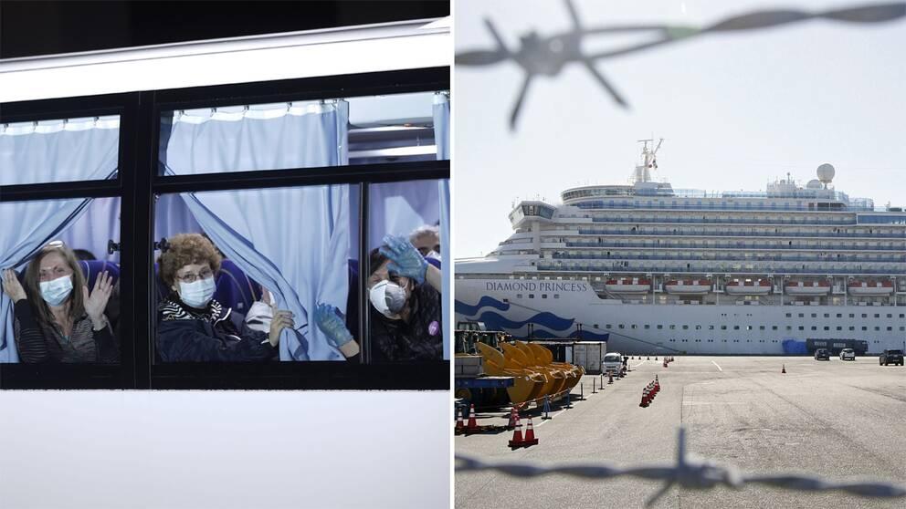 Personer som evakuerats och kryssningsfartyget.