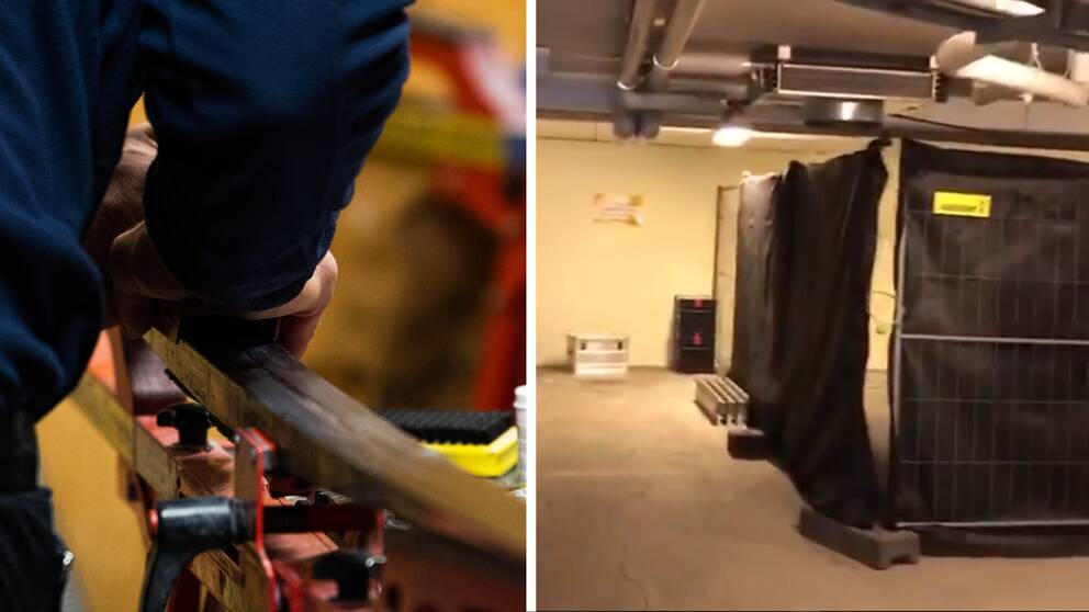 Flera vallateam strejkar i Åre. De har blivit hänvisade att valla i ett garage i ett hyreshus (t.v.).