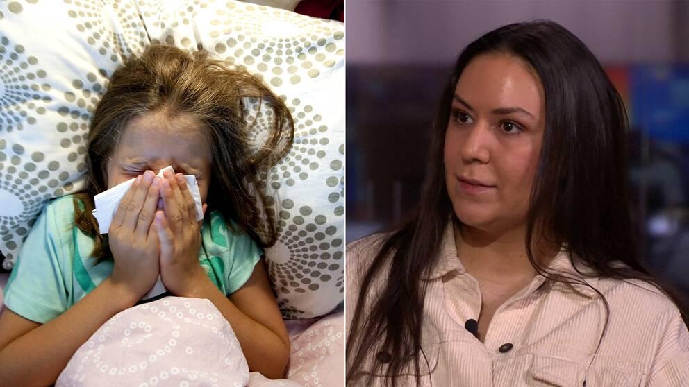 Ett barn som snyter sig och förskolepedagogen Daniella Dalvik.