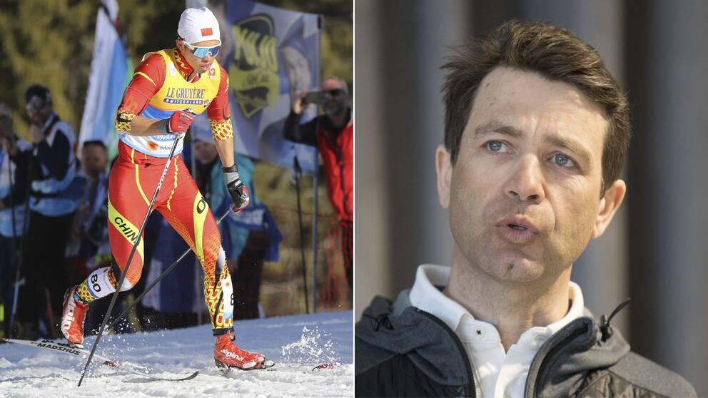 Kinesiske längdåkaren Jincai Shang och Ole Einar Björndalen.