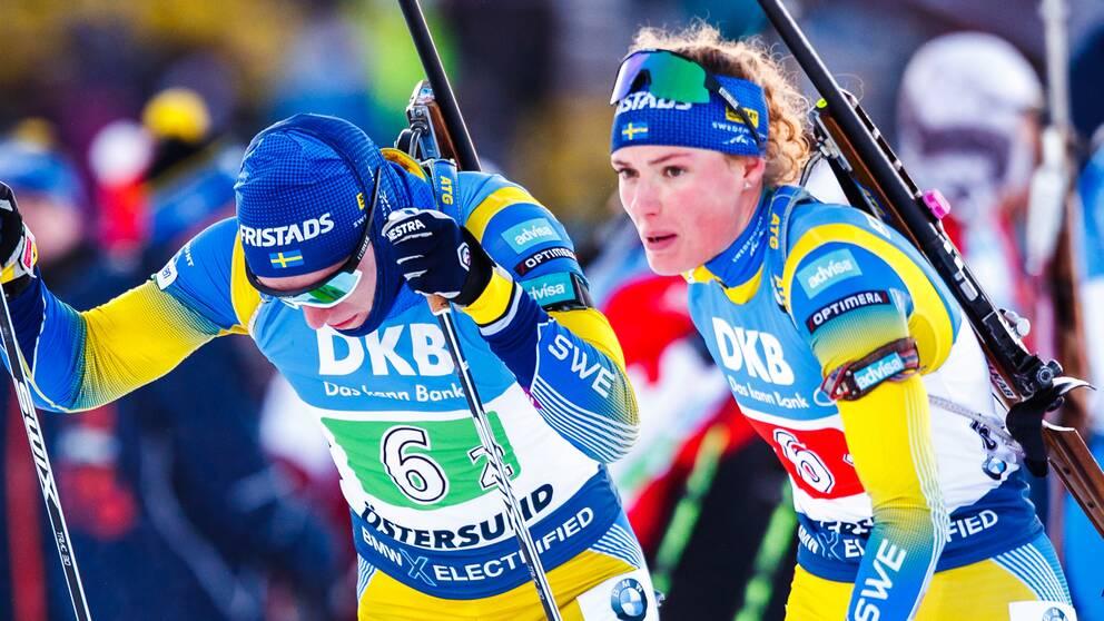 Sebastian Samuelsson och Hanna Öberg under världscupen i Östersund i höstas.