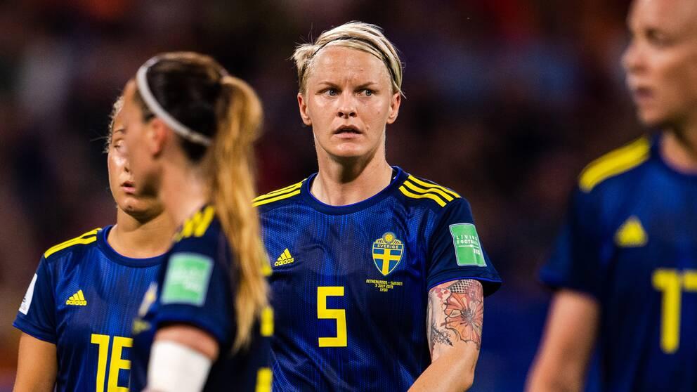 Sveriges Nilla Fischer under VM-semifinalen mot Nederländerna i juli.