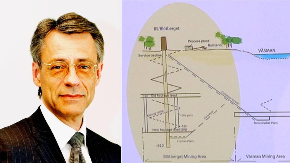 Delad bild på vd Lennart Eliasson och planerna för Blötberget.