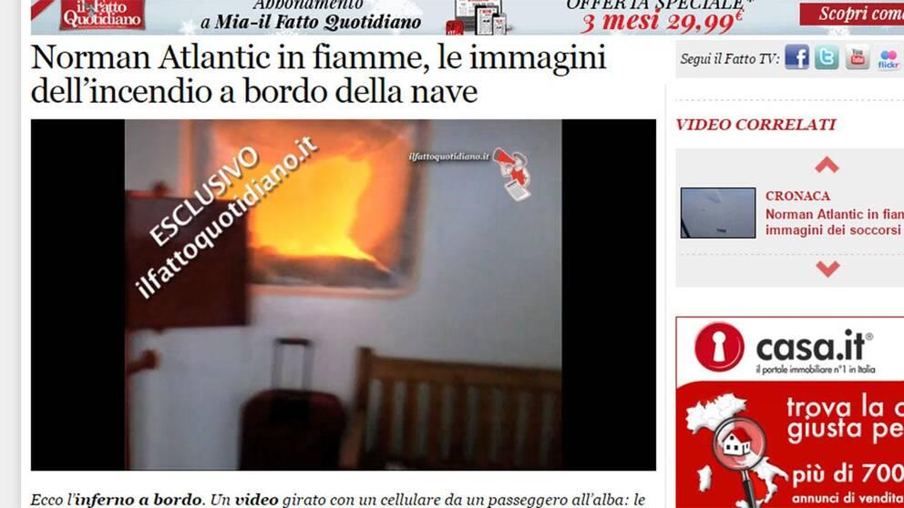 Den italienska tidningen il Fatto Quotidiano publicerar en mobilfilm tagen av en passagerare ombord på den brinnande färjan.