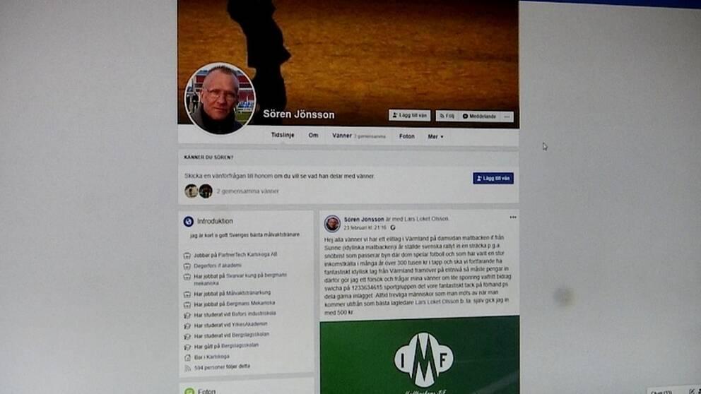 Bakom uppropet på Facebook om insamlingen står Sören Jönsson, målvaktstränare i Degerfors IF.