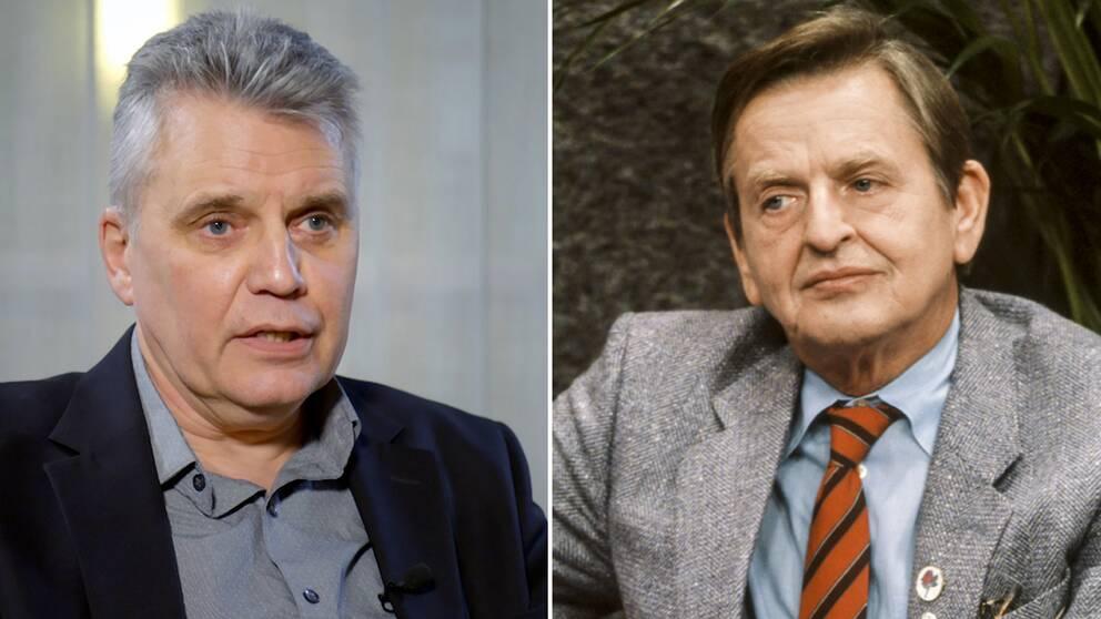 Till vänster: spaningsledare Hans Melander. Till höger: Olof Palme.