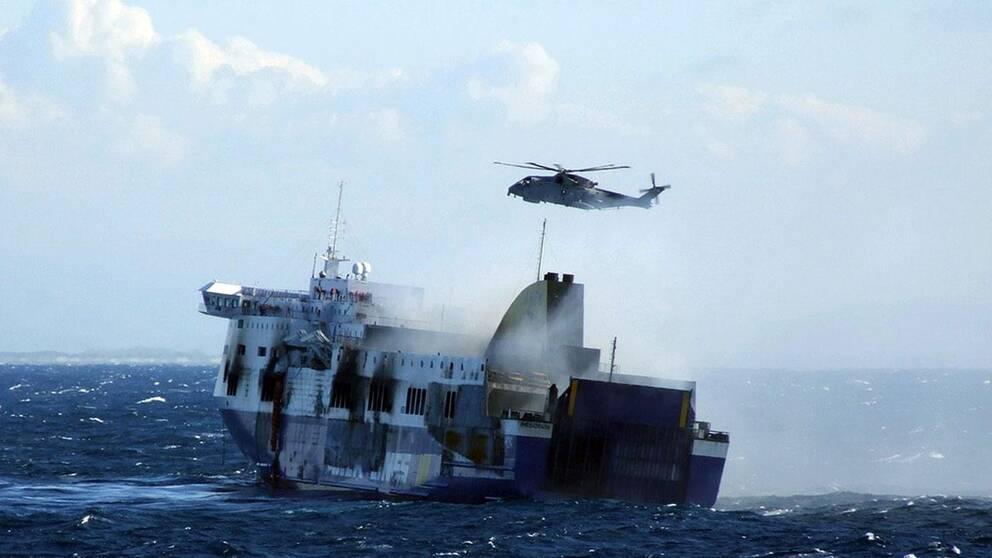 Måndagen 29 januari utbröt en brand på Norman Atlantic.