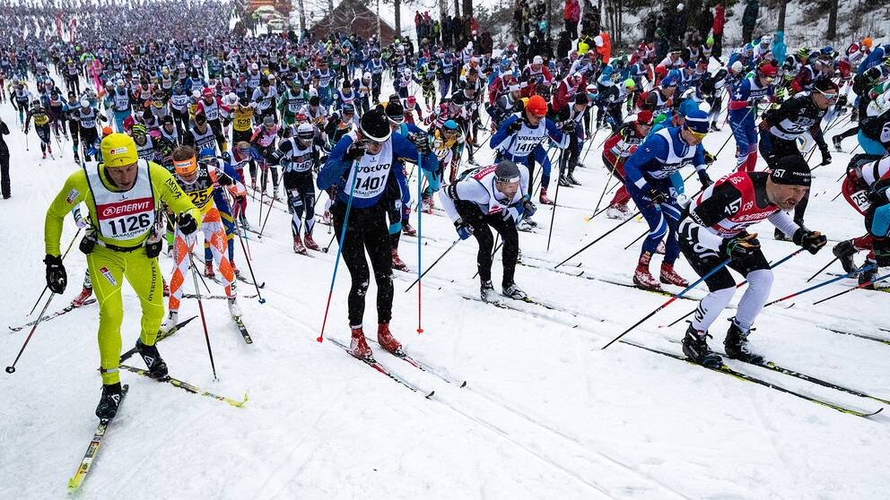 Åkare under Vasaloppet 2019.
