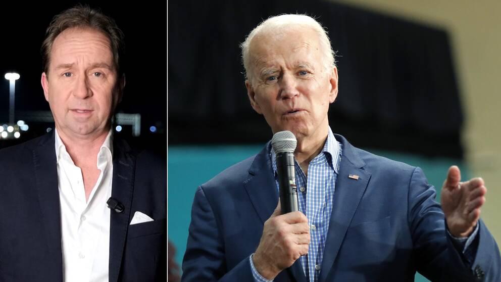 Till vänster SVT:s USA-korrespondent Stefan Åsberg och till höger Joe Biden.