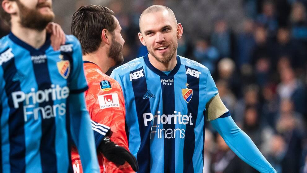 Djurgårdens målvakt Tommi Vaiho och Marcus Danielson jublar.