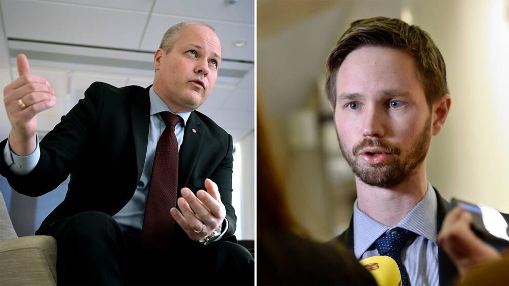 Morgan Johansson (S) och Rasmus Ling (MP).