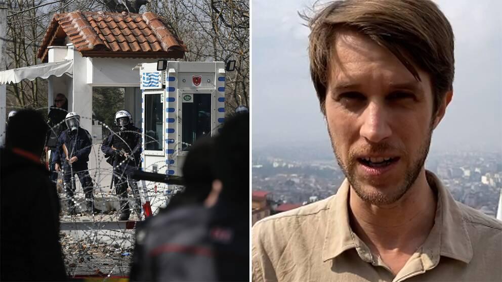 Bild på grekisk gränspolis samt bild på SVT:s utsände i Turkiet Tomas Thorén.