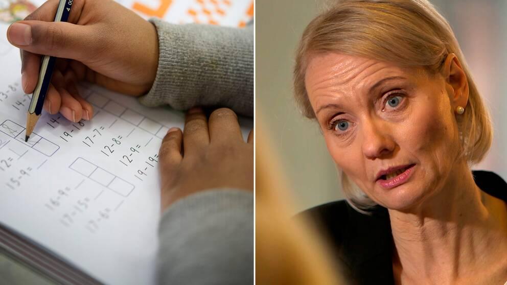 Ett barn räknar i en mattebok. Till höger Karin Tegmark Wisell, chef för mikrobiologi på Folkhölsomyndigheten.