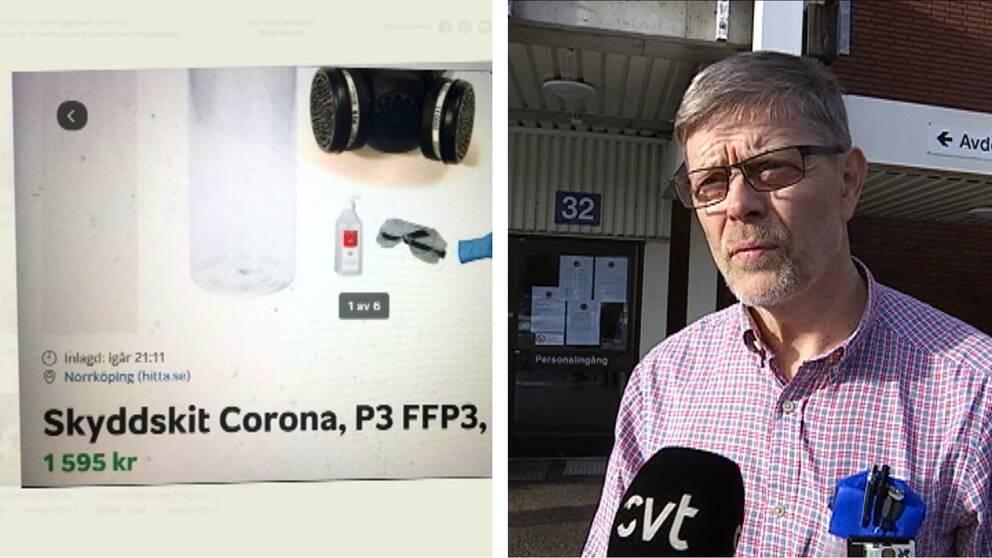 Montage på en blocketannons som säljer ett skyddskit mot Coronaviruset, och ett porträtt på smittskyddsläkaren Signar Mäkitalo.
