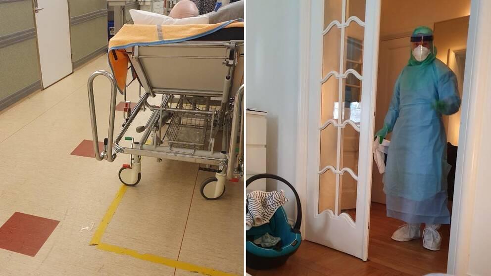 sjukhuskorridor och personal i skyddskläger