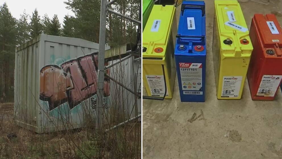 Två bilder. Botten av en telemast som ser ut som en container på ena bilden. Stora batterier i olika färger på den andra.