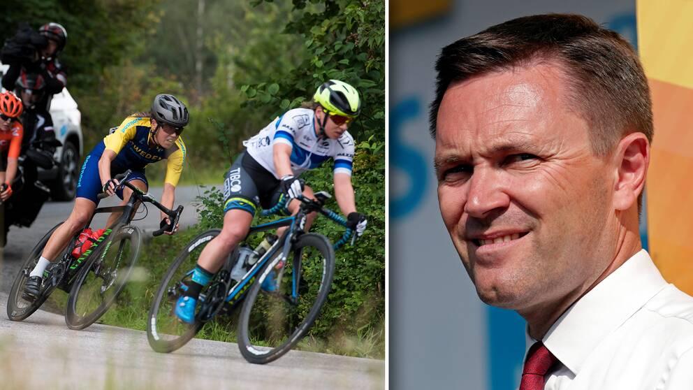 Vänster: Världscuptävling i Vårgårda i augusti. Höger: David Lappartient som är ordförande i Internationella cykelförbundet.