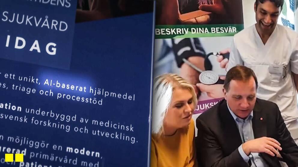 """Innovatören bakom """"Vårdexpressen"""", Damon Tojjar, visar upp det för statsminister Stefan Löfven (S) och socialminister Lena Hallengren (S)."""
