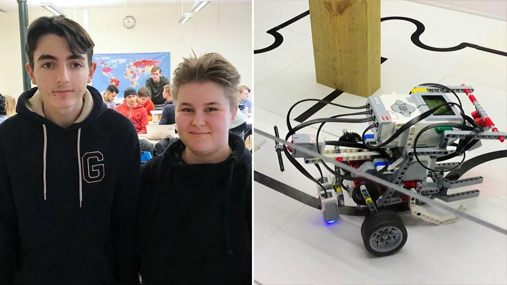 60 elever från sju skolor i Blekinge samlades på onsdagen på Kreativum i Karlshamn för att tävla i programmering i robottävlingen RoboCup Junior. På bild syns Albert Sporeja och Tilde Palm.