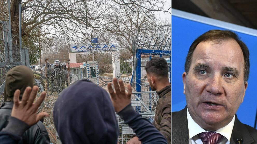 Bildmontage. Till vänster migranter vid den turk-grekiska gränsen. Till höger Stefan Löfven
