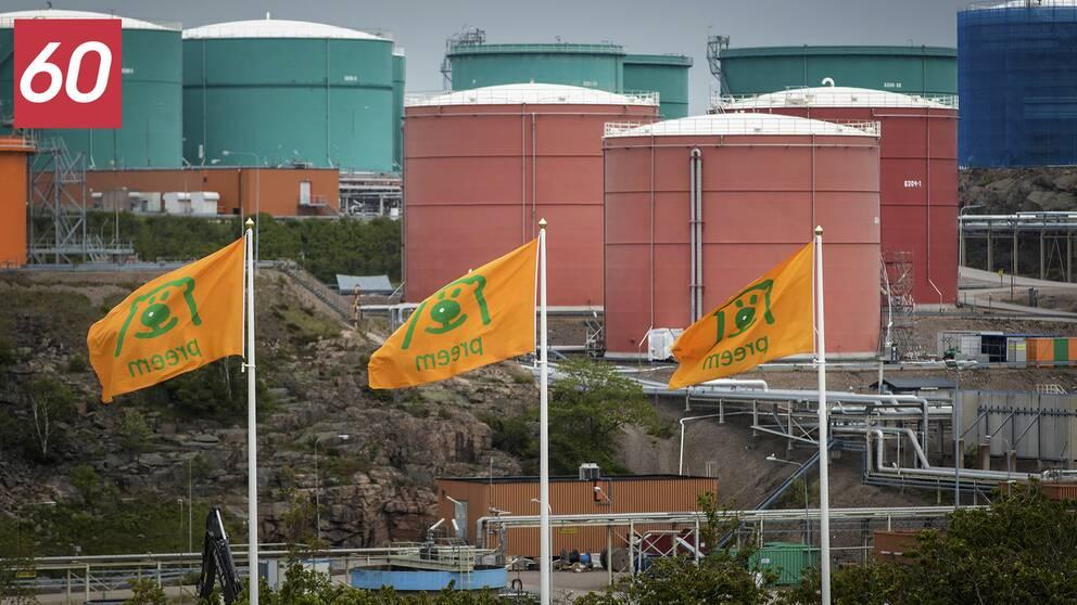 Preems oljeraffinaderi i Lysekil, sommaren 2019.