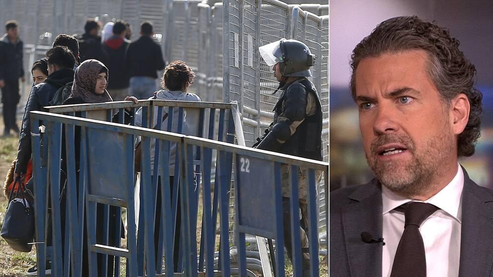 Migranter vid stängsel nära den turk-grekiska gränsen. Till höger i bild Migrationsverkets generaldirektör Mikael Ribbenvik.