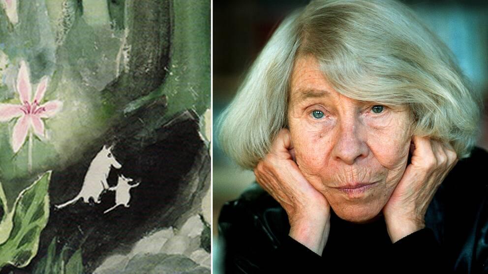 Till vänster: Den första Muminboken från 1945. Till höger: Finlandssvenska författaren Tove Jansson.